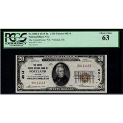 1929 $20 Portland National Bank Note PCGS 63