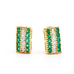 Plated 18KT Yellow Gold 1.02ctw Green Agate and Diamond Earrings