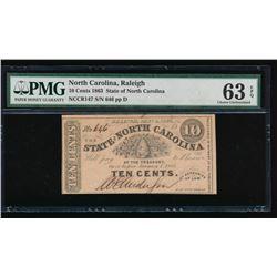 10 Cent 1863 Raleigh NC Obsolete Note PMG 63EPQ