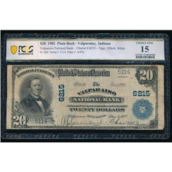 1902 $20 Valparaiso IN National Bank Note PCGS 15