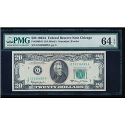 1963A $20 Fancy Serial Chicago Federal Reserve Note PMG 64EPQ