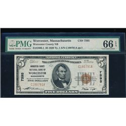 1929 $5 Worcester National Bank Note PMG 66EPQ