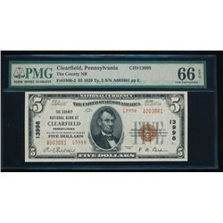 1929 $5 Clearfield National Bank Note PMG 66EPQ