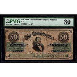 1861 $50 Confederate States of America Note PMG 30