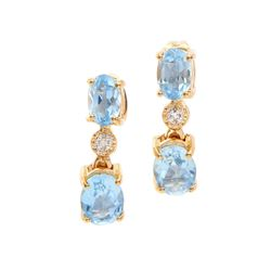 Plated 18KT Yellow Gold 2.80ctw Blue Topaz and Diamond Earrings