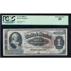 1886 $1 Martha Washington Silver Certificate PCGS 45