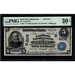 1902 $5 St Paul National Bank Note PMG 30EPQ