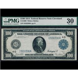 1914 $100 Cleveland Federal Reserve Note PMG 30