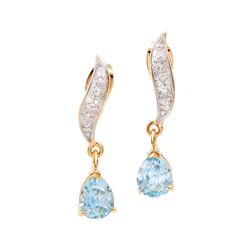 Plated 18KT Yellow Gold 2.05ctw Blue Topaz and Diamond Earrings