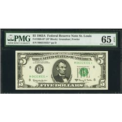 1963A $5 St Louis Federal Reserve STAR Note PMG 65EPQ