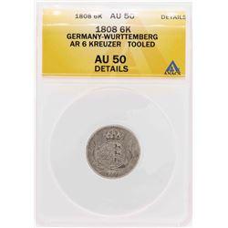 1808 Germany-Wurttemberg AR 6 Kreuzer Coin ANACS AU Details