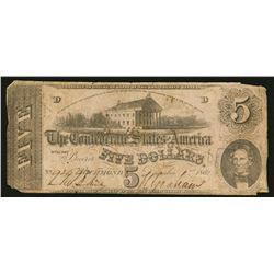 1862 $5 T53 Confederate States of America Note