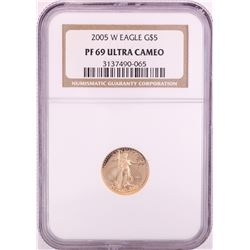 2005-W $5 Proof American Gold Eagle Coin NGC PF69 Ultra Cameo