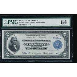 1918 $2 Boston Federal Reserve Bank Note PMG 64