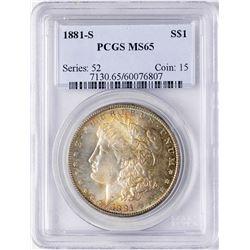 1881-S $1 Morgan Silver Dollar Coin PCGS MS65 Amazing Toning