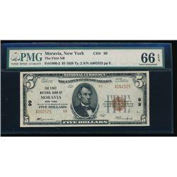 1929 $5 Moravia National Bank Note PMG 66EPQ
