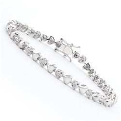Plated Rhodium Diamond Heart Bracelet