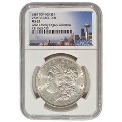 1884 $1 Morgan Silver Dollar Coin NGC MS62