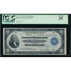 1918 $2 San Francisco Federal Reserve Bank Note PCGS 35