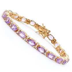 Plated 18KT Yellow Gold 13.25ctw Amethyst and Diamond Bracelet