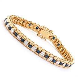Plated 18KT Yellow Gold 5.00ctw Black Sapphire and Diamond Bracelet