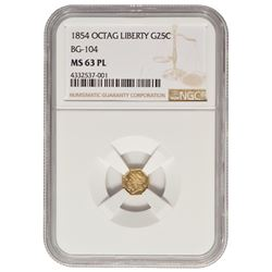 1854 California 25 Cent Gold Coin NGC MS63PL