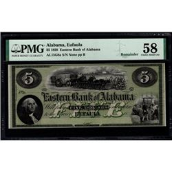 1858 $5 Eufaula Bank of Alabama Note PMG 58
