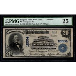 1902 $20 Niagara Falls National Bank Note PMG 25