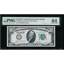 1928 $10 Boston Federal Reserve Note PMG 64