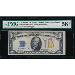 1934A $10 North Africa Silver Certificate PMG 58EPQ
