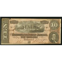 1864 $10 T68 Confederate States of America Note