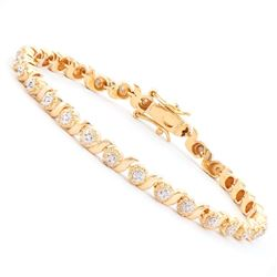 Plated 18KT Yellow Gold 0.30ctw Diamond Bracelet