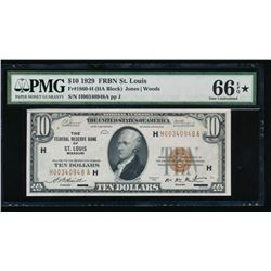 1929 $10 St Louis Federal Reserve Bank Note PMG 66EPQ