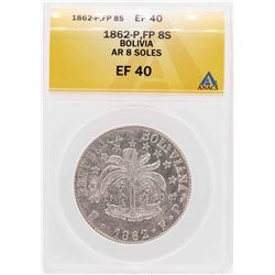 1862-P FP Bolivia AR 8 Soles Silver Coin ANACS XF40