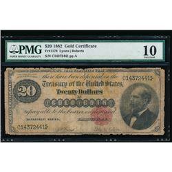1882 $20 Gold Certificate PMG 10