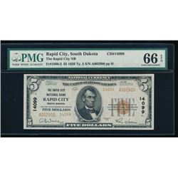 1929 $5 Rapid City National Bank Note PMG 66EPQ