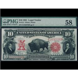 1901 $10 Bison Legal Tender Note PMG 58