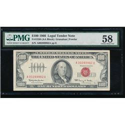1966 $100 Legal Tender Note PMG 58