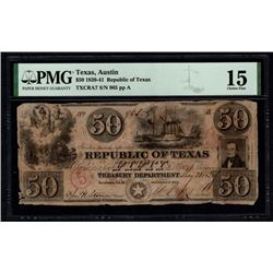 1839-41 $50 Austin Republic of TX Note PMG 15