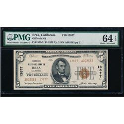 1929 $5 Brea National Bank Note PMG 64EPQ