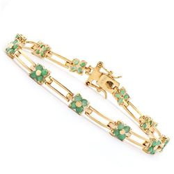 Plated 18KT Yellow Gold 3.00ctw Emerald Bracelet