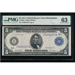1914 $5 Philadelphia Federal Reserve Note PMG 63