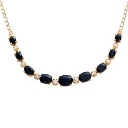 Plated 18KT Yellow Gold 8.90ctw Black Sapphire and Diamond Pendant with Chain