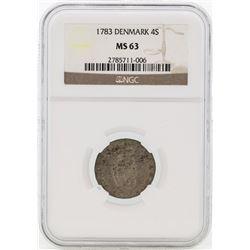 1783 Denmark 4 Skilling Coin NGC MS63