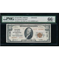1929 $10 Evansville National Bank Note PMG 66EPQ