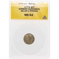 1774 Germany-Nuremberg Billion 4 Pfennig Coin ANACS MS62