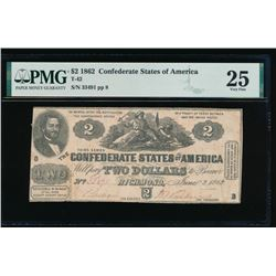 1862 $2 Confederate States of America Note PMG 25