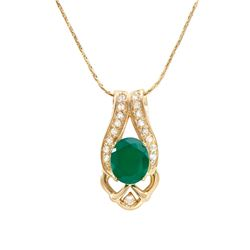 Plated 18KT Yellow Gold 4.00ct Green Agate and White Topaz Pendant with Chain