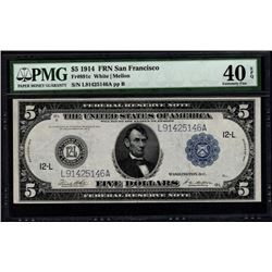 1914 $5 San Francisco Federal Reserve Note PMG 40EPQ