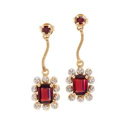 Plated 18KT Yellow Gold 1.93ctw Garnet and Diamond Earrings